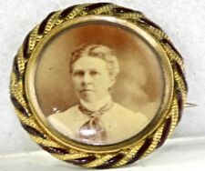 Victorian Antique Enamel Picture Photo Mourning Pin