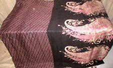Pink Black Pure Silk 4 yard Vintage Sari Trusted Sheet Wall Hanging Store #9ETK7