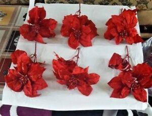 6 Christmas Decorations Poinsettias Branches Red Table Decoration Christmas