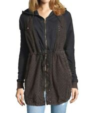 New MSRP $228 Free People Womens Sz Medium Washed Black Eyelet Hooded Zip Front