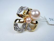Swarovski Crystals and Pearls 0876 Nina Ricci Gold Plated Pin with