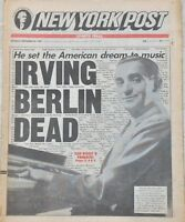 New York NY Post Irving Berlin Music Composer Dead at 101 1989 Newspaper