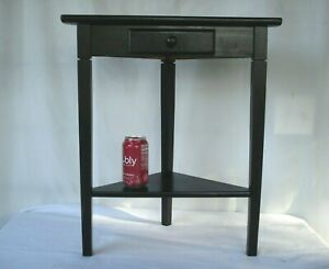 small wooden corner accent table w/ drawer storage Plant Stand Shelf home office