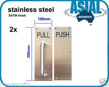 2 sets stainless STEEL door handle Pull Push PLATE SATIN finish