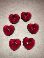 Blown Glass Red Heart Sculpture Miniature Figurine Art Decor Of 6 Pcs