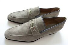 STEFANO RICCI Gray Suede with Blue Piping Shoes Loafers Size 12 US 45 Euro 11 UK
