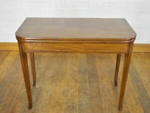 Antique turn over top inlaid Victorian console tea table / writing table