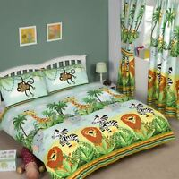 JUNGLE-TASTIC DOUBLE DUVET COVER SET KIDS LION ELEPHANT MONKEY