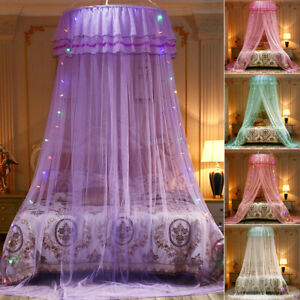 Mosquito Net Bed Queen Size Home Bedding Lace Canopy Elegant Netting Princess *