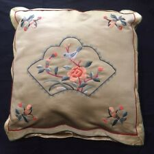 Birds Pillow Satin  Embroidered Floral Coral  Gold Green Red Gray 12x12