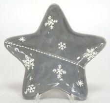 Kerzenteller Stern grau 21 cm Keramik Neu