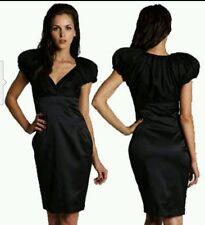 TED BAKER London Black ALWAID Puffer Sleeve Empire Waist Pleat Dress Sz 3(US 8)