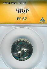 1954 Washington Quarter : ANACS PR67  Blazing White Proof