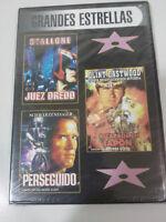 JUEZ DREDD + PERSEGUIDO + ESCAPADA EN JAPON STALLONE EASTWOOD DVD SLIM NUEVA