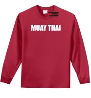 Muay Thai L/S T Shirt MMA Martial Arts Gym Workout Fighter Trainer Gift Tee Z1