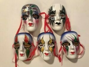 "Set of 5 Clay Art 4"" Ceramic Wall Mask Decorative With Ribbons New w/Boxes"