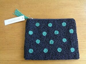 BNWT, ACCESSORIZE, BEADED SPOT POUCH/SMALL BAG/PURSE, BLUE AND GREEN