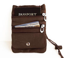 TWO Brown PASSPORT Leather ID Neck Pouch Card Money Bag Work Gym TRAVEL Nice