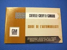 1968 Camaro Chevelle Chevy II NOS French Canadian Owners Manual
