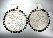 CHIC Urban Anthropologie Black Onyx Beads Gold Honeycomb Chandelier Earrings