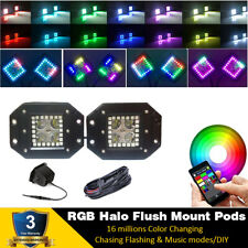 2x Led Work Light Flush Mount Spot Pods RGB Halo Strobe Wireless Bluetooth