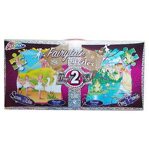 GRAFIX Girls Jigsaw Puzzles 50 cm x 40 cm Swan Lake & Frog Prince Damaged Box