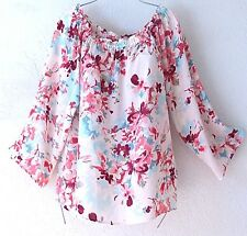 NEW~Cherry Pink Ivory Rose Aqua Peasant Blouse Shirt Boho Top~4/6/2/S/Small