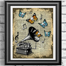 ART PRINT ON ORIGINAL ANTIQUE BOOK PAGE Gothic skull fly gramophone Dictionary