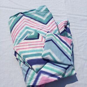Full/Queen Duvet Cover 2 Pillow Shams Pottery Barn Teen Zig Zag Pink Green Blue