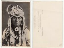 Indianer Häuptling, Native American Indian Chief, Foto AK Real Photo PC 1915