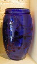 Original Murano Glass Italy Large Cobalt  Vase with Murrine Millefiori Bacchetta