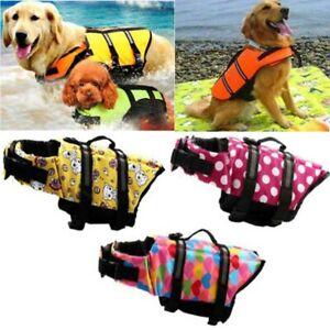 Puppy Pet Dog Life Jacket Preserver Surf Safety Full Reflective Protect Vest UK