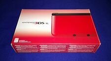 NEW ULTRA RARE Nintendo 3DS XL Red Black Handheld System Console + AC Adapter!