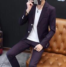 Mens Boy Outdoor Plaid Blazer Suits Coat Pants  Slim Jacket Business 2pcs