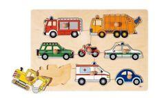 Puzzle en bois à encastrement  modele véhicules 1er age- jouet en bois - GOKI**