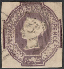 1854 SG59 6d DULL LILAC EMBOSSED CUT SQUARE 3 LARGE MARGINS VERY LIGHT CANCEL