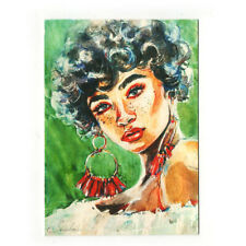 original painting miniature ACEO drawing watercolor art picture woman portrait