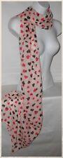 Scarf,Silky Chiffon,Pink,Hearts,Long...Silky Chiffon Hearts Style Scarf (113)