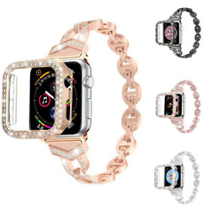 Bling Diamond Iwatch band wrist strap Case For Apple Watch Series 6 5 4 3 2 SE 1