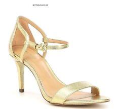 MICHAEL KORS women's SIMONE MID HEEL SANDALS Ankle Strap Leather Pale Gold 7.5 M