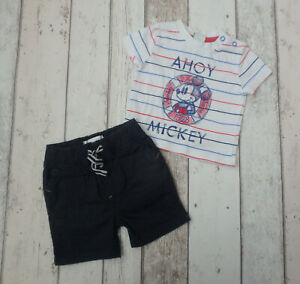Baby Boy Mickey Mouse T-Shirt & Shorts Outfit  Disney & Early Days 0 - 3 months
