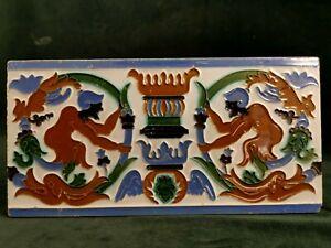 antique majolica tile art nouveau large   c1900   made in spain