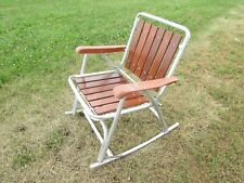 RETRO ALUMINUM ROCKING FOLDING LAWN CHAIR, PLASTIC ARMS, REDWOOD SEAT / BACK