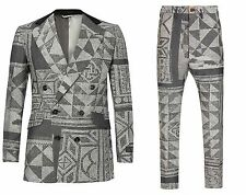 Vivienne Westwood man slim fit gris Mosaic Jacquard Laine Costume. UK 38R-It 48R