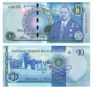TONGA: $ 10 Pa'anga Banknote ND (2015) P-46  Paper Money UNC