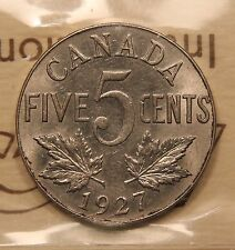 1927 Canada 5 Cents ICCS MS-63 Choice Uncirculated. BV $210
