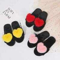 WOmen's Girls Cute Heart Fluffy Flat Open toe Slide Slippers Sandals US4.5-8