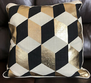 Malini Cubes Cushion , Cotton Slub , Black, Beige, Metallic Gold 45cm