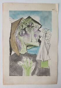Rare 1946 PABLO PICASSO Collagraph Pochoir Weeping Woman from Albert Carman