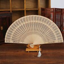Hand Hollow Fragrant Party Carved Bamboo Chinese Style Folding Fan Wooden
